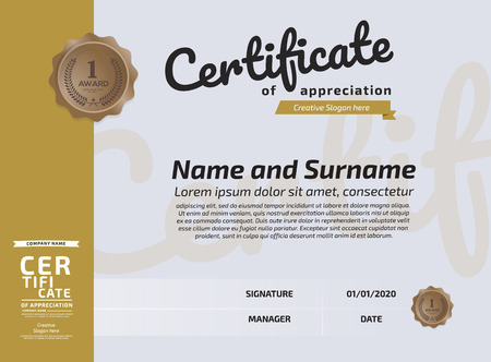 Certificate Of Appreciation Award Template. Illustration Certificate Horizontal In A4 Size Pattern Imagens - 125780577