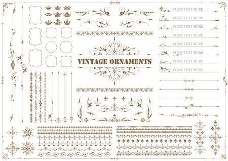 Vintage ornament set. Floral attern, Border and Frames. Illustration