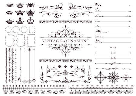 Vintage ornament set. Floral decorations, borders and frames.