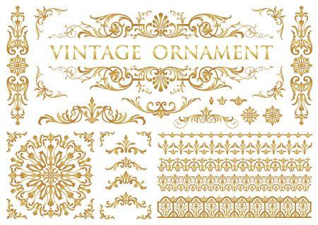 Vintage ornament. Decoration Flourish. Border and frame set.