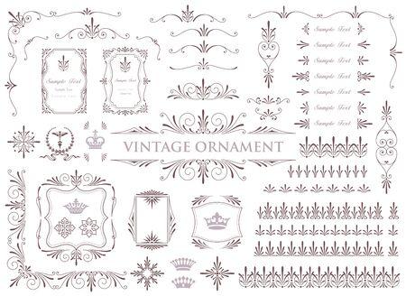 Vintage ornament. Decoration Flourish. Frame set.