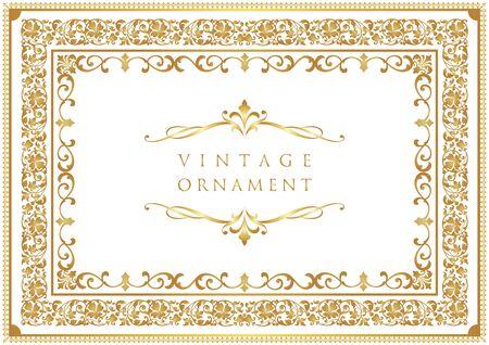 Adorno vintage. Marco decorativo florecer. Ilustración de vector