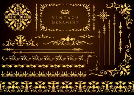 Vintage ornament set. Borders and various frame materials.  イラスト・ベクター素材