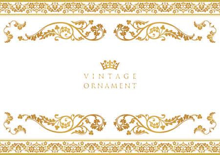vintage ornament set. borders and frames. Векторная Иллюстрация