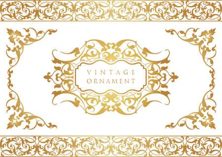 vintage ornament set. borders and frames. Vettoriali