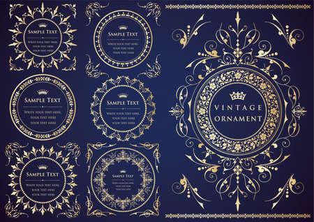 Vintage ornament set. borders and frames.