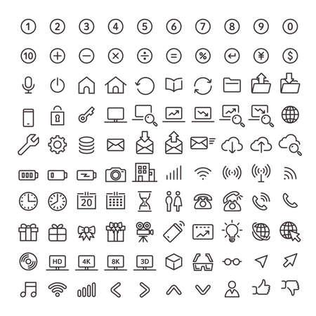 Line art icon 100 pieces set 02 (basic)