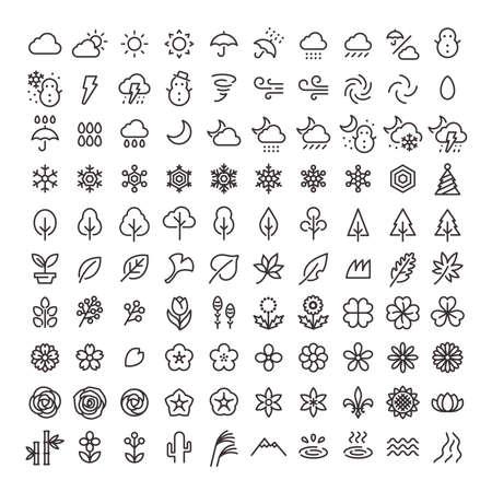 Line art icon 100 pieces set 05 (nature)