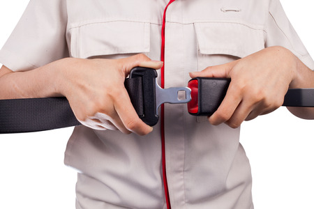 safety belt: close up two hand use safety belt on white background