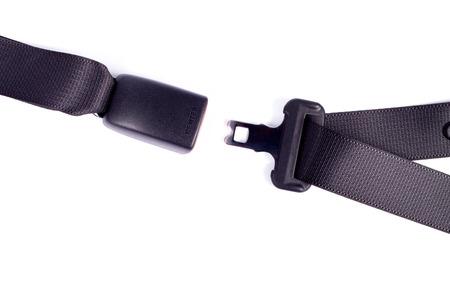 seatbelt: Opened seat belt. All on white background.