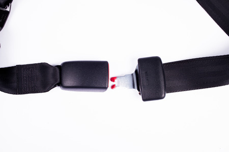 seat belt: Opened seat belt. All on white background.