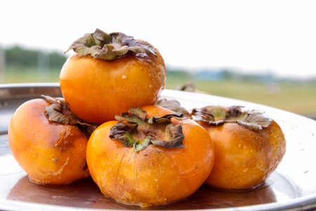 Persimmons rotten on the wood Stock fotó - 153224965