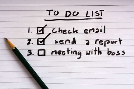 hand writing business to do list