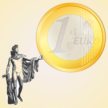 greek god: Euro moneda y dios griego Apolo