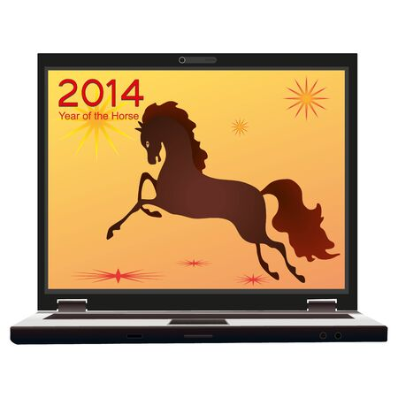 2014 New Year of the Horse on the screen of the notebook Vector
