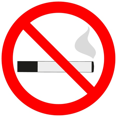cigar shape: Prohibitory sign with a cigarette and smoke