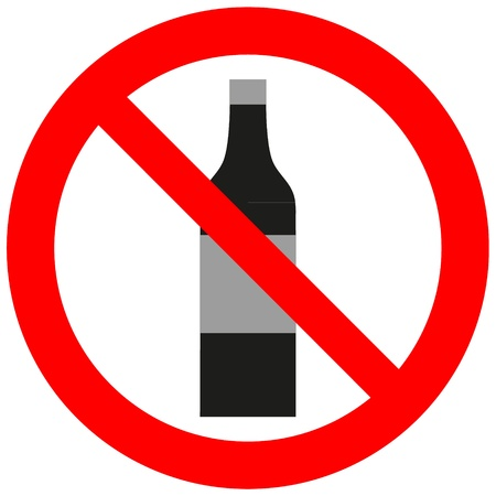 cigar shape: Prohibitory sign with an alcohol bottle Illustration