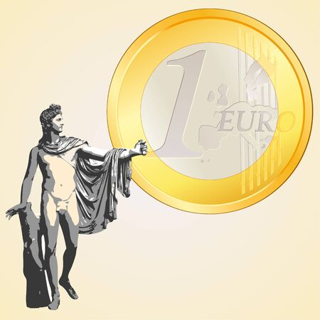 greek currency: Euro coin and Greek god Apollo