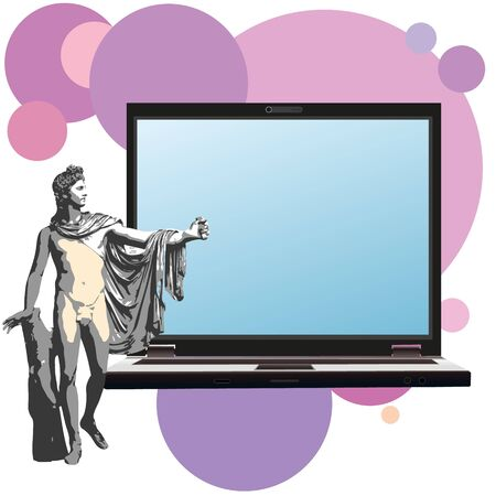 apollo: The god Apollo and big notebook