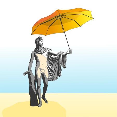 apollo: The god Apollo with umbrella Illustration