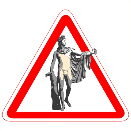 apollo: Warning sign with the god Apollo