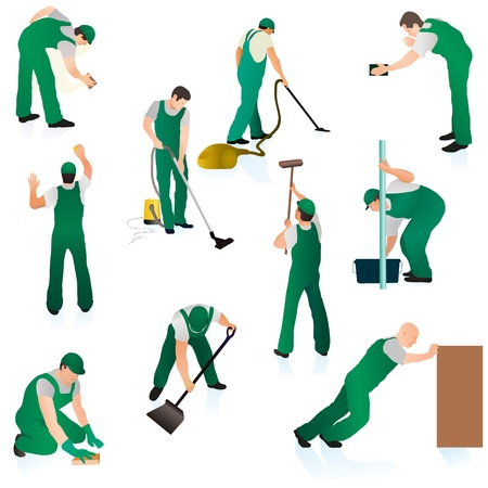 carpet stain: Set of ten professional cleaners in green uniform Illustration