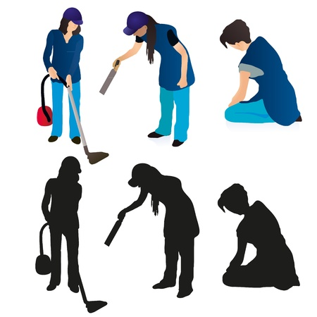 carpet clean: Set of three women cleaners