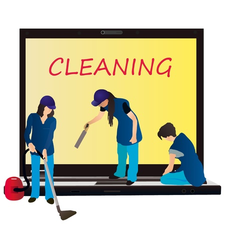 cleanness: Three women cleaners and big notebook Illustration