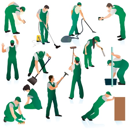 Set o thirteent professional cleaners in green uniform Vector