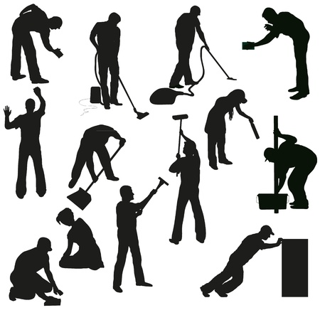 cleaning service: Set of thirteen professional cleaners black  silhouettes
