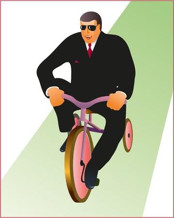 Businessman and bike Illustration