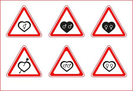 Road heart signs Illustration