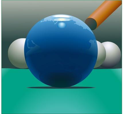 Globe and billiards Illustration