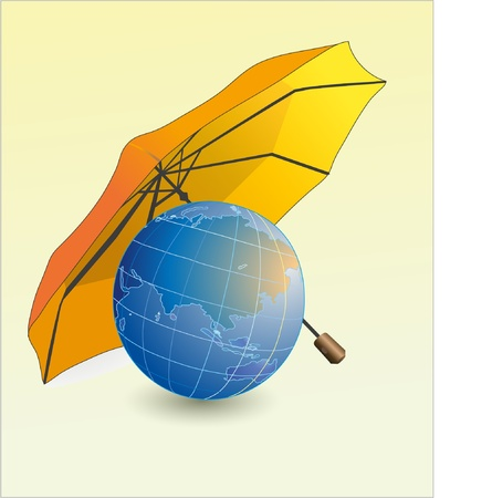 Globe and umbrella Stock Vector - 10734091