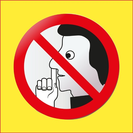 Forefinger and nose prohibitory road sign Illustration