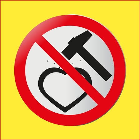 Hammer and heart prohibitory  road sign Stock Vector - 10785146