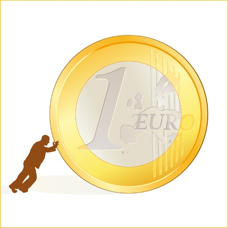 Businessman rolling EURO coin