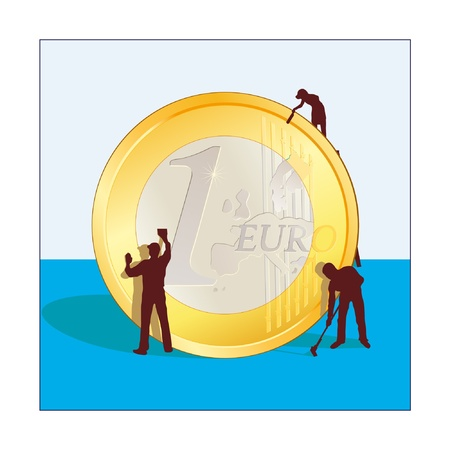 Cleaning of Euro coin Illustration