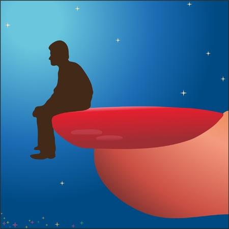 Man sitting on woman`s nail Stock Vector - 10960246