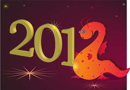 2012 New Year with red dragon Illustration
