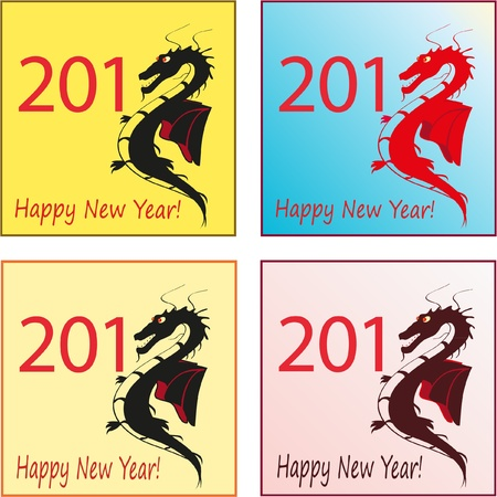 Set of four stylish dragons for 2012 Vector