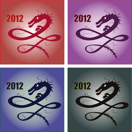 Set of different dragons for 2012 New Year Vector