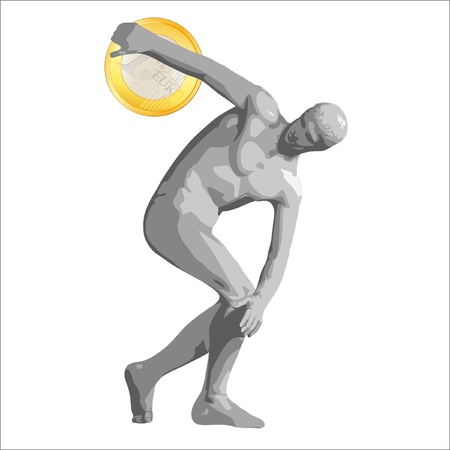 Discus thrower with Euro coin Stock Vector - 11218756