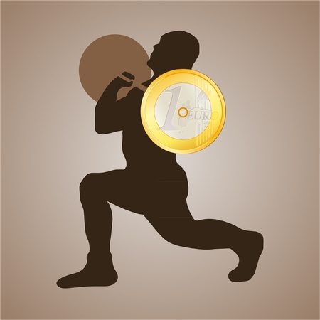 weightlifter: Weightlifter holding the Euro coin
