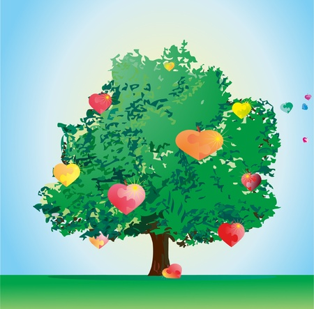 Love tree with sweet heart puzzles Vector