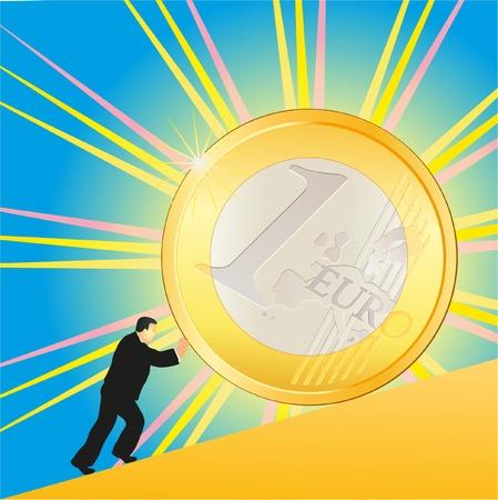 Businessman pushing shining Euro coin