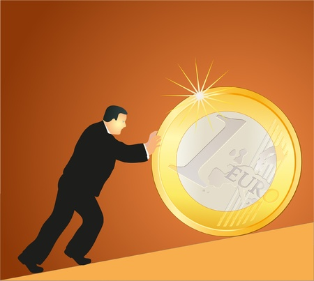 Businessman pushing big Euro coin against brown background