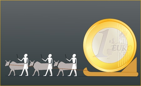 Ancient Egyptians driving the EURO coin Vector