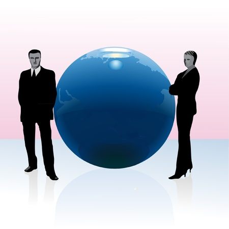 Businessman and businesswoman standing near the globe