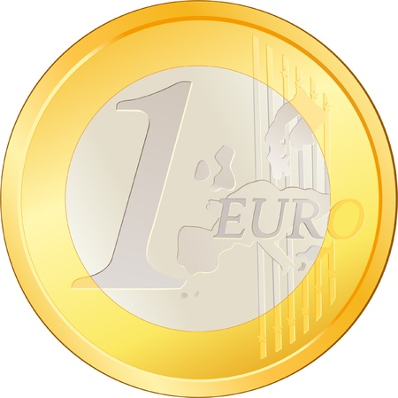 Isolated excellent Euro coin Illustration
